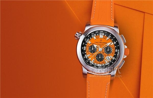 柏拉維三地時間計時碼表橙色型號情境圖