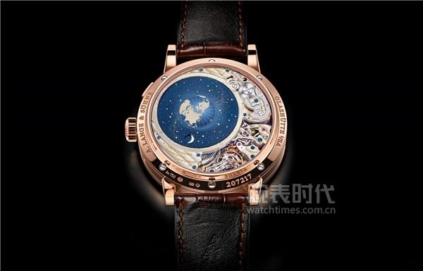 """RICHARD LANGE理查朗格万年历""""星宿月相""""腕表机芯描绘出地球、月亮和太阳星群图的轨迹月相显示"""