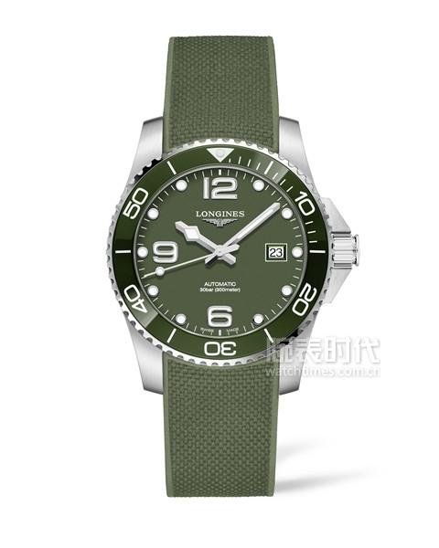 浪琴表康卡斯潛水系列綠色腕表_L3.781.4.06.9