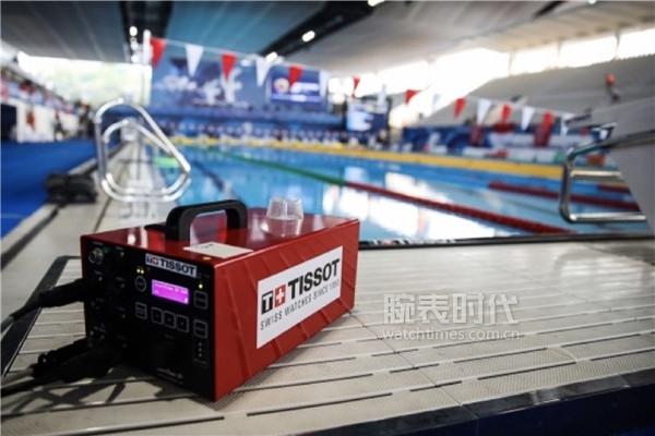 图1:天梭表设置于泳池边的前端设备中控器