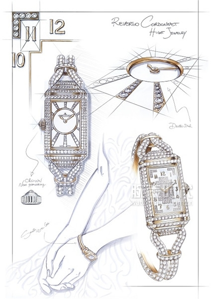 積家REVERSO ONE CORDONNET JEWELLERY翻轉系列高級珠寶絲鏈腕表 - 設計草圖