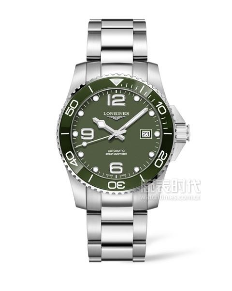 浪琴表康卡斯潛水系列綠色腕表_L3.781.4.06.6